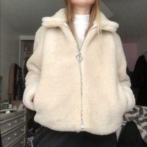 Faux Fur Teddy O Ring Coat